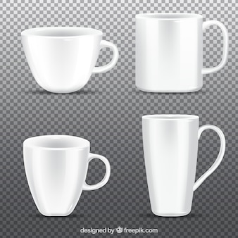 現実的なスタイルのコーヒーカップのコレクション