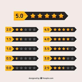 黒と黄色の星評価デザイン