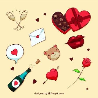手描きのバレンタインデー要素コレクション