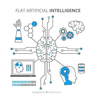 Плоский фон искусственного интеллекта