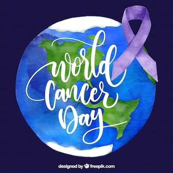 地球を持つ水彩世界の癌の日の背景