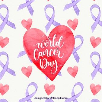 心臓を持つ水彩世界の癌の日の背景