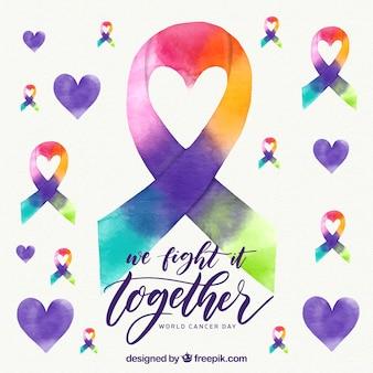 虹色のリボンで水彩世界の癌の日の背景