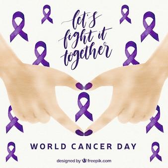 手で水彩画の世界の癌の日の背景