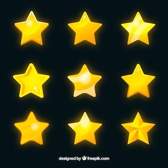 光沢のある黄色の星のセット