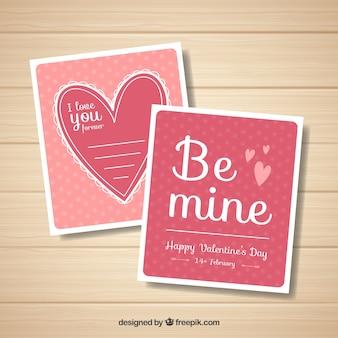 Шаблон дневной карточки с плоским валентином