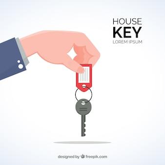 フラットな手の持ち主のキーの背景