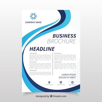 Шаблон бизнес-листа с синей волнистой формой