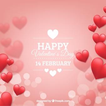 心を持つぼんやりとしたバレンタインデーの背景