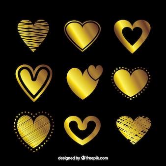 Золотая изолированная коллекция сердца