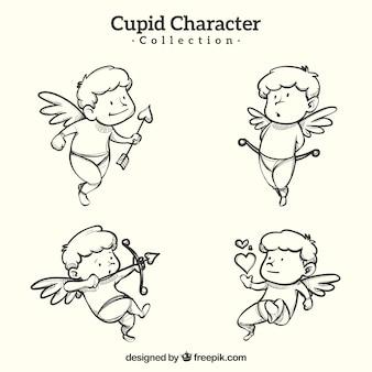 Коллекция персонажей с рисунком в руке