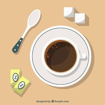 Плоская чашка кофе с видом сверху