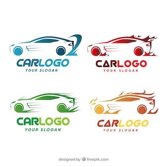 カラフルな車のロゴパック
