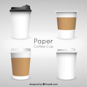 Реалистичная бумажная чашка кофе