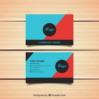Синий и красный шаблон визитной карточки