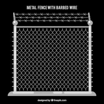 Металлический забор с колючей проволокой с черным фоном