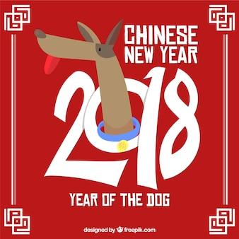 Плоский китайский фон нового года