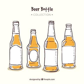 Коллекция рисованной пивной бутылки
