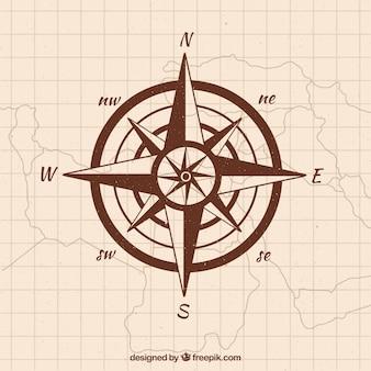 Нарисованный рукой фон компаса