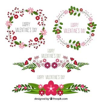 バレンタインの花輪と花のコレクション