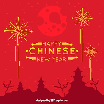 Китайский новый год фон с городским силуэтом