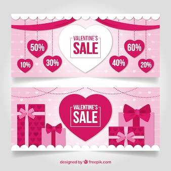 ピンクのバレンタインセールのバナーデザイン