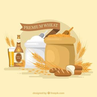 平らな小麦の背景