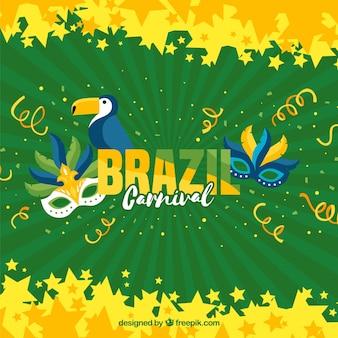 平らなブラジルのカーニバルの背景