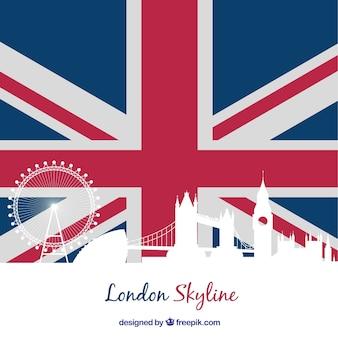 ロンドン旗スカイラインシルエット