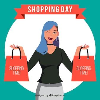 ショッピングの日の女性の文字