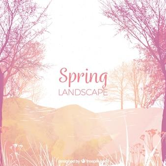 水彩春の風景の背景