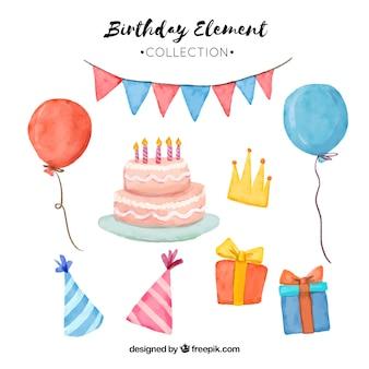 Акварельные атрибуты дня рождения
