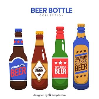 ラベル付きフラットビールボトルコレクション