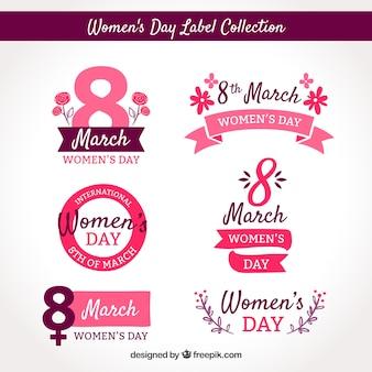ピンクの女性の日バッジのコレクション