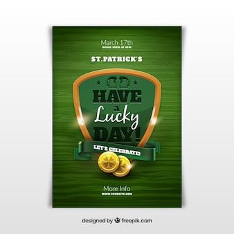 Плакат дня святого патрика в реалистичном стиле