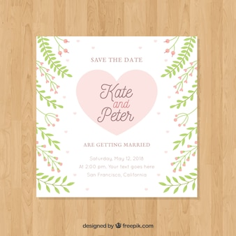 フラットデザインでの正方形の結婚式招待状