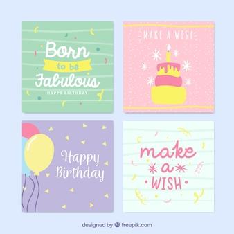 ニース手描きのカラフルな誕生日カード
