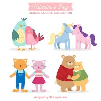 手描きのバレンタインデー動物カップルコレクション