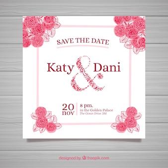 ニース手描きの結婚式の招待状