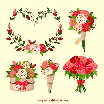 平らなバレンタインデーの花輪&花束