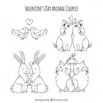 Коллекция рисованной пары день святого валентина