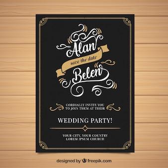 ヴィンテージスタイルのオーナメントの結婚式招待状