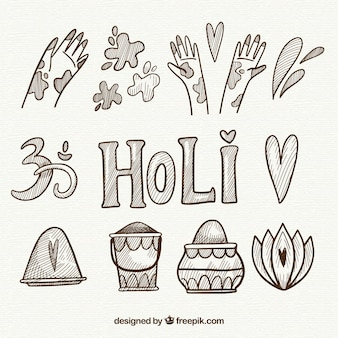 Рисованные элементы фестиваля холи