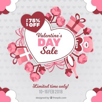 手描きのバレンタインデーの販売の背景