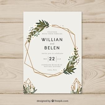 花輪とシンプルな手描きの結婚式の招待状