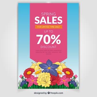 春の販売のための美しいポスターテンプレート
