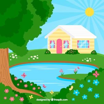 池がある春の風景