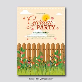 フェンスと草のガーデンパーティー招待状テンプレート