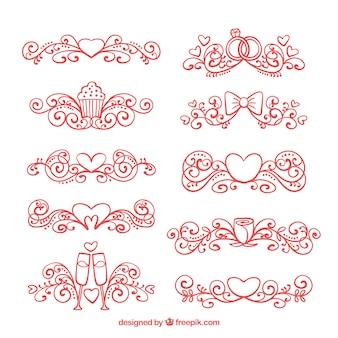Красные рисованные свадебные украшения