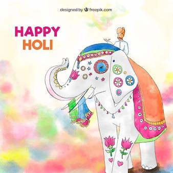 象のハッピーホリと水彩の背景